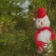Happy Snowman ornament in a Christmas tree — Stock Photo #8002364
