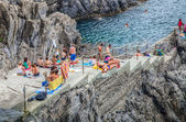 Cinque Terre, Italy - Tourists — Stock Photo