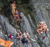 Cinque Terre, Italy - Tourists — Stock Photo