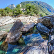 Verzasca River Landscape, Switzerland - Stock Photo