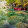 Stock Photo: Blausee, Switzerland - Red Boats and Fall Foliage