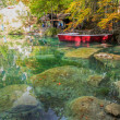Blausee, Switzerland - Red Boats and Fall Foliage — Stock Photo