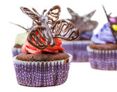 Chocolate Butterfly Cupcakes — Stock Photo