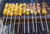 Grilling Chicken Satay — Stock Photo