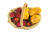 Rambutan and Mango Fruits — Stock Photo