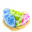 Stock Photo: Towels in Wicker Basket