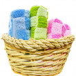 Towels in Wicker Basket — Stock Photo
