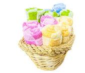 Towels in Wicker Basket — Stock Photo