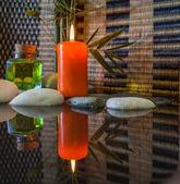 Zen stone en kaars — Stockfoto