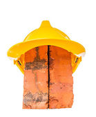 Safety Helmet and Bricks — Stock Photo
