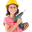 Little Girl And Power Drill — Foto Stock