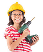 Little Girl And Power Drill — Stock Photo