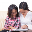 Sisters Reading Book Together — Stock Photo