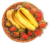 Banana and Rambutan — Stock Photo