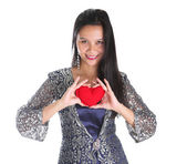 Asian Malay female with heart sign — Stock Photo