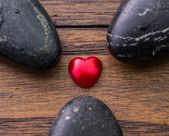 Zen Stone and Valentine Heart — Stock Photo