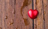 Wood and Valentine Heart — Stock Photo
