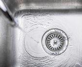 Water In Kitchen Sink — Stock Photo