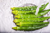 Washing Ladyfinger Vegetables — Stock Photo