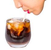Female Drinks Cola — Zdjęcie stockowe