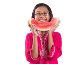 Little girl eating watermelon — Stock Photo