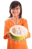 Malay Girl And Pomelo Fruit — Stock Photo