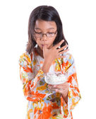 Young Girl With A Bowl Of Ice Cream — Stock Photo