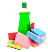 Cleaning Detergent and Sponge — Stock Photo