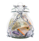 Money In A Chained Jar — Stockfoto