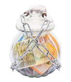 Money In A Chained Jar — Zdjęcie stockowe