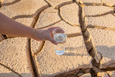 Glass on  Parched Soil — Stock Photo