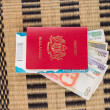 Passport and Currency — Stock Photo