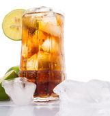 Iced tea with ice cube — Foto Stock