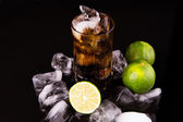 Iced tea with ice cube — Stock Photo