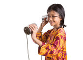 Young Girl With Tin Can Telephone — Stock Photo