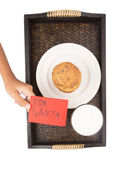 Milk, Home Made Cookies For Santa — Stock Photo