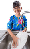 Young Girl Washing Dishes — Stock Photo
