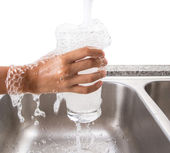 Filling A Glass With Tap Water — Stock Photo