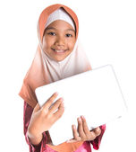 Young Muslim Girl With Laptop — Stock Photo