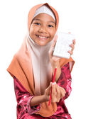 Young Muslim Girl With Notepad — Stock Photo