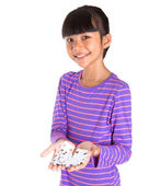 Young Girl With Jigsaw Puzzle Piece — Stock Photo