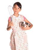Chica con cubeta de acero — Foto de Stock