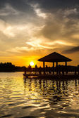 Water Gazebo and Sunset — Stock Photo