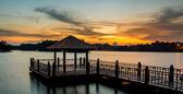 Water Gazebo and Sunset — Stock Photo