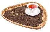 A Cup of Tea In Wicker Tray — Foto de Stock