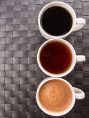 Hot Beverages In Mugs — Stock Photo