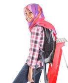 Muslimska skolflickor och stege — Stockfoto
