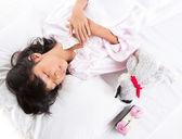Young Girl Sleep With Alarm Clock — Stock Photo