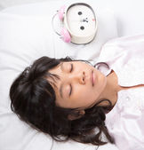 Girl With Alarm Clock — Stock Photo
