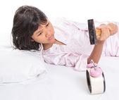 Girl Destroy Alarm Clock — Stockfoto